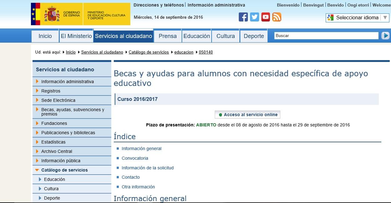 Ayudas para alumnado con necesidad específica de apoyo educativo para el curso académico 2016-17