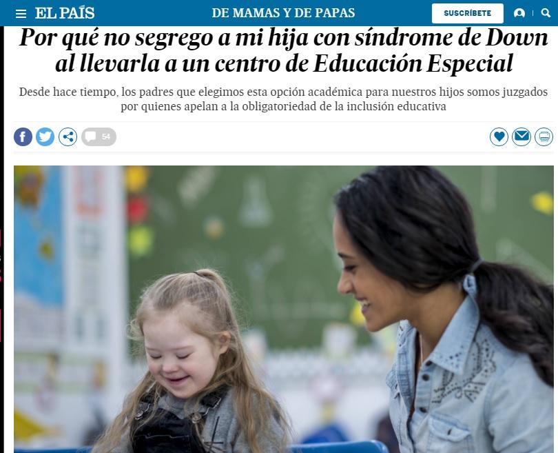 Porqué no segrego a mi hija con Síndrome de Down al llevarla a un Centro de Educación Especial
