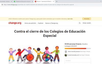 Recogida de firmas para la continuidad de la Educación Especial